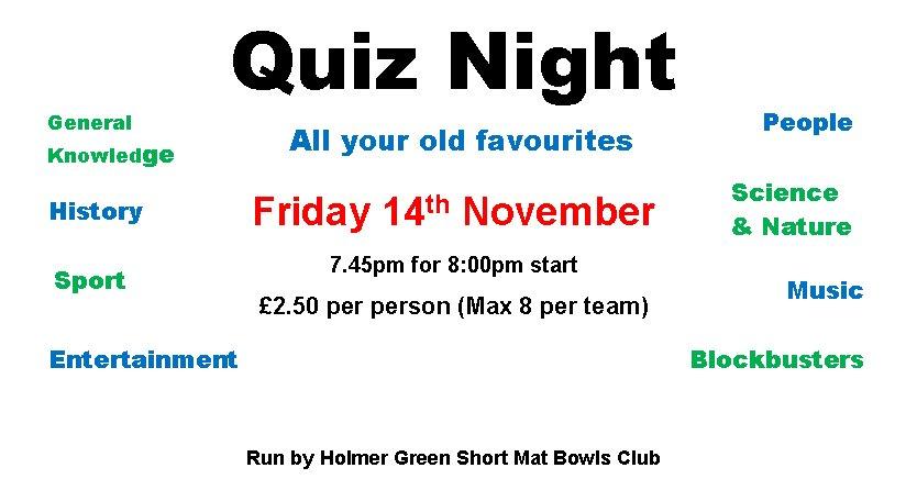Quiz Night 14 Nov – Holmer Green Sports Association